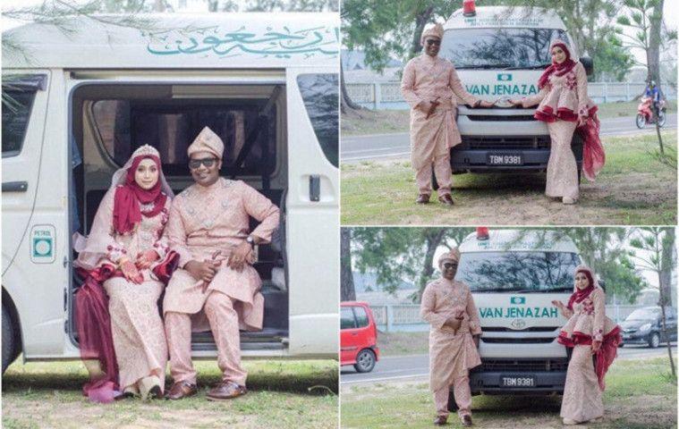 Sejoli Viral Karena Nekat Foto Prewed Pakai Mobil Jenazah