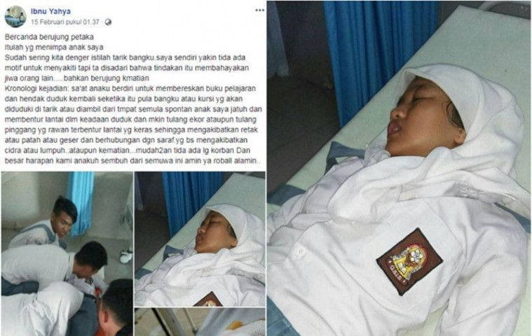 Bercandaan Tarik Kursi Pelajar SMA ini Berujung Fatal! Seorang Siswa Terancam Lumpuh! | Keepo.me
