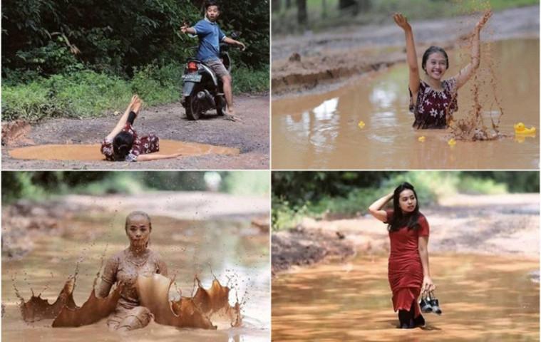 Protes Jalanan yang Rusak, Para Anak Muda di Sumatera Selatan Lakukan Sesi Foto di Jalan Berlubang | Keepo.me