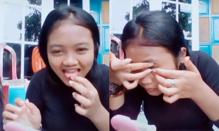 Tak Pake Cairan Khusus, Gadis Ini Malah Pake Air Ludahnya Untuk  Pasang Softlens | Keepo.me