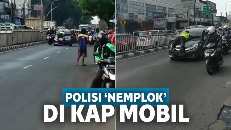 Lagi! Viral Polisi 'Nemplok' di Kap Mobil Hadang Pengendara yang Enggan Ditilang | Keepo.me
