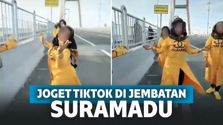 Viral Aksi Berbahaya 3 Emak-emak Joget TikTok, Diiringi Lagu India di Jembatan Suramadu!   Keepo.me