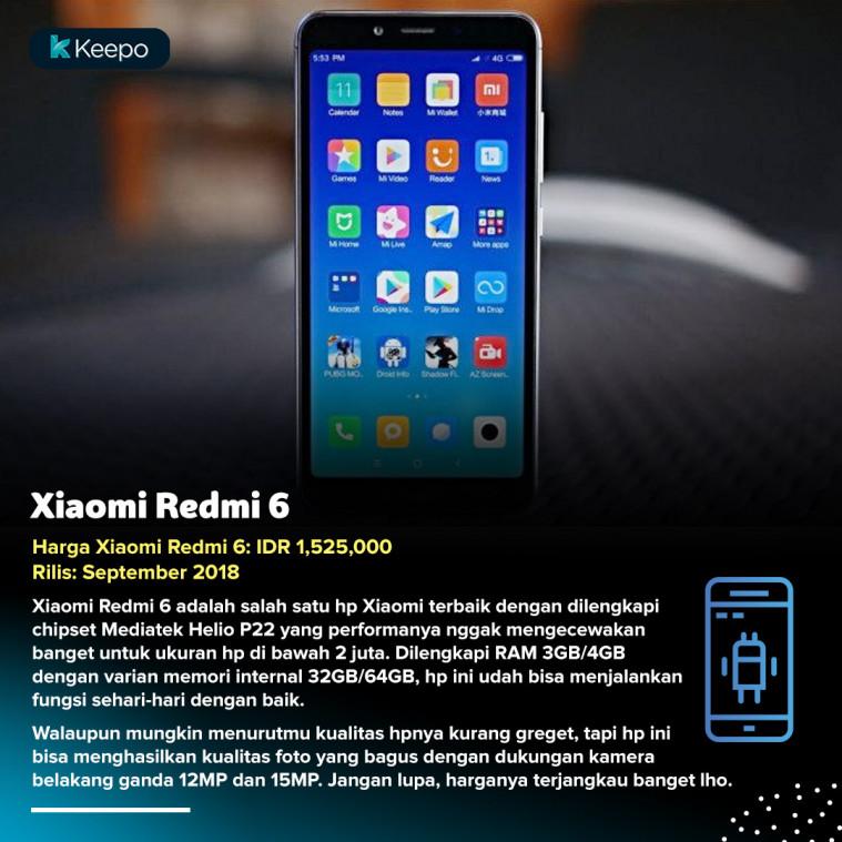 Xiaomi Redmi 6 hp di bawah 2 juta