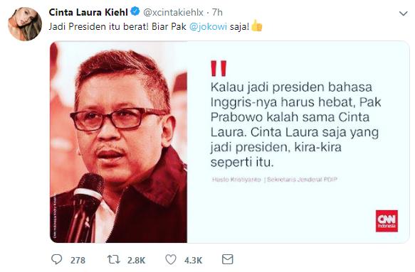 Kristyanto Sebut Cinta Laura Lebih Cocok Jadi Presiden Dibanding Prabowo