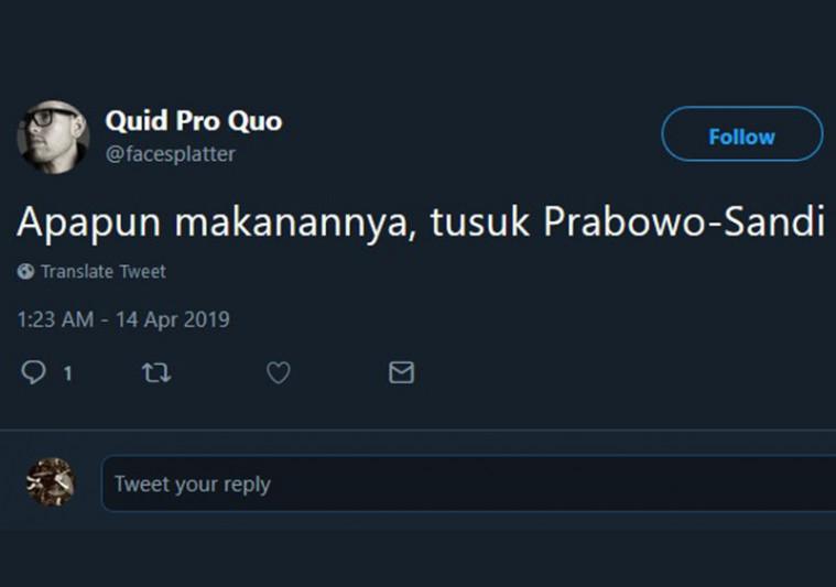 Ramai Tagar #TusukPrabowoSandi