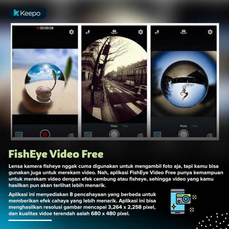 aplikasi kamera  fisheye android terbaik FishEye Video Free