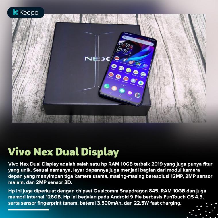 daftar hp ram 10GB terbaik 2019 Vivo Nex Dual Display