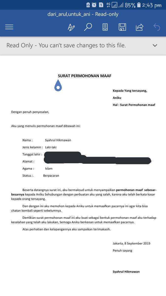 Surat Pemohonan Maaf Secara Formal Ke Pacar Bikin Meringis