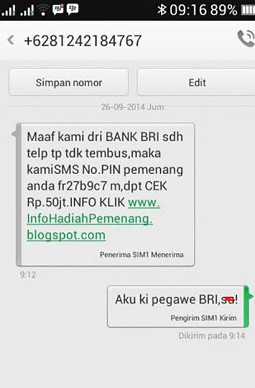 Balasan SMS penipuan paling kocak