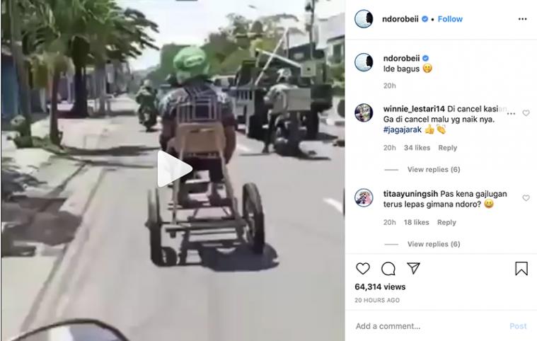 Ojol di Surabaya Ini Modifikasi Motornya Jadi Anti Corona
